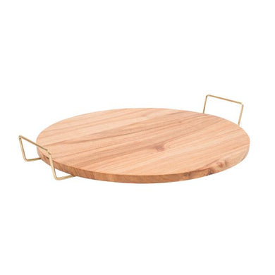 Teak Wooden Serving Tray with Brass Handles