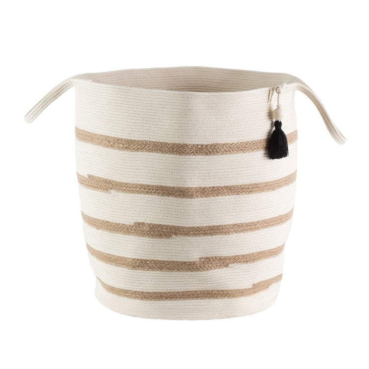 Floor Basket in Ivory and Jute, Large