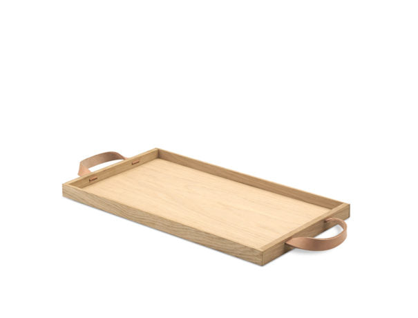 Tray with Leather Handles in Natural, Large