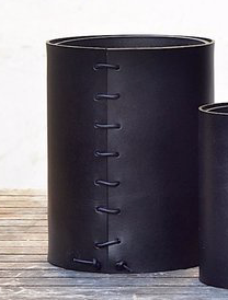 Black Leather Wrapped Vase, Small