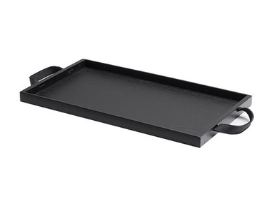 Tray with Leather Handles, Black