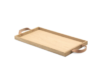 Tray with Leather Handles, Natural