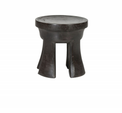 Dark Wood Stool with Curved Legs