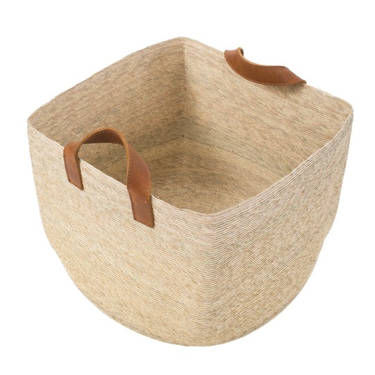 Square Basket with Leather Handles