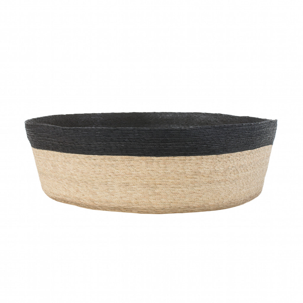 Natural Floor Basket with Black Stripe