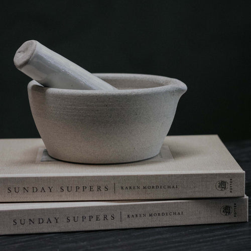 Stoneware Mortar And Pestle