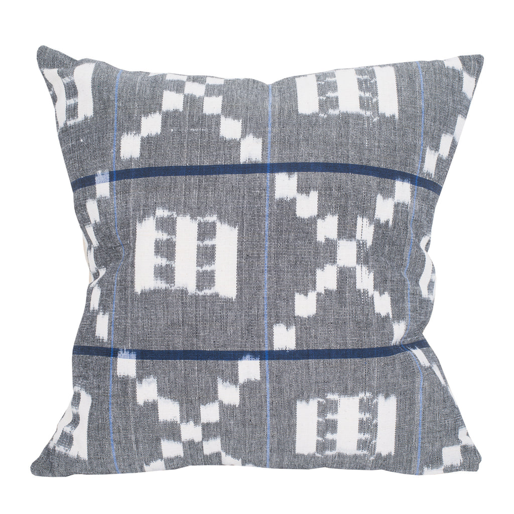 Square Pillow Sham in Grey and Blue