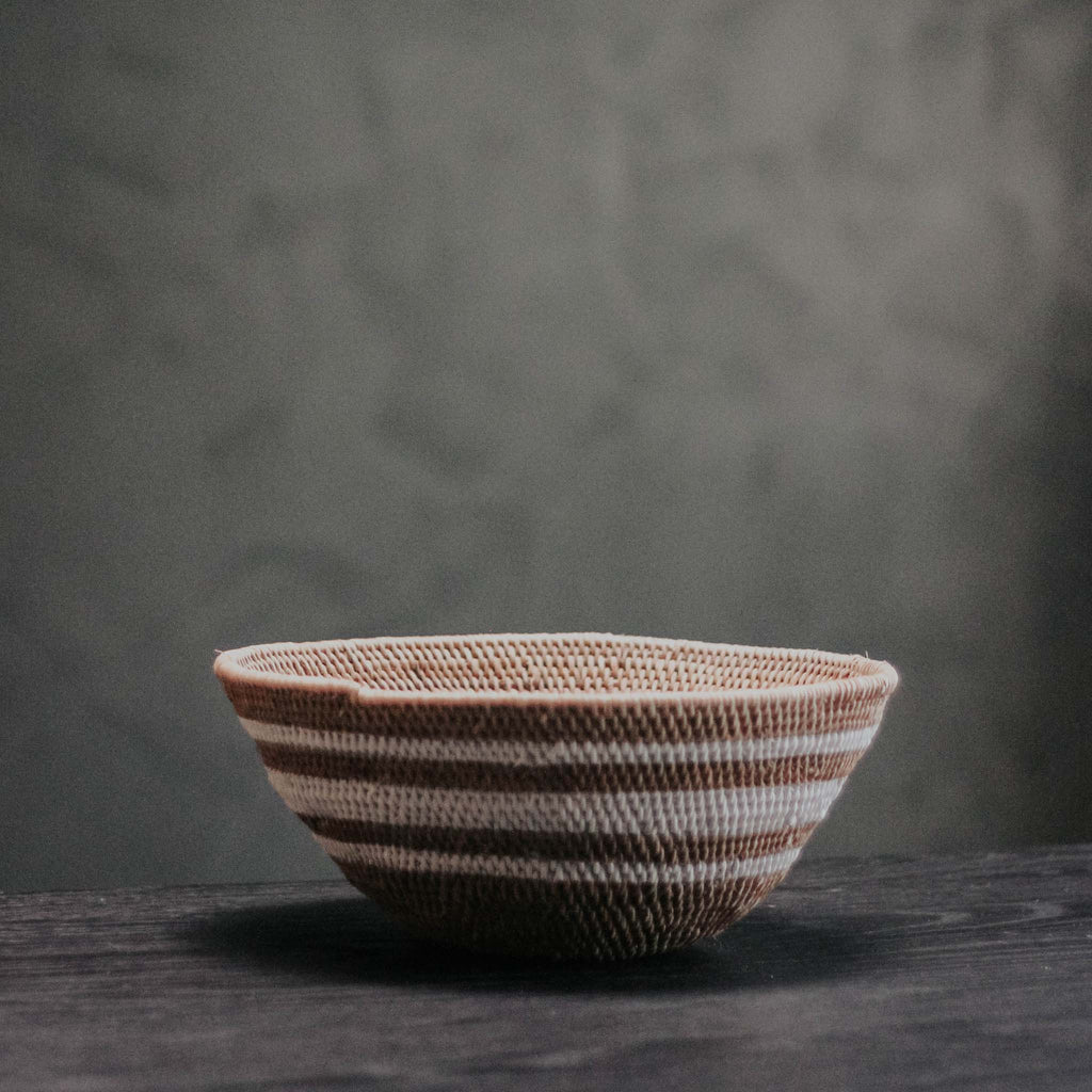 Foil and White Stripe Woven Bowl, Size Small