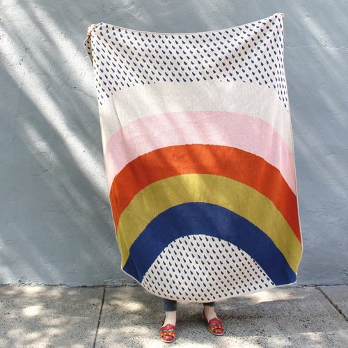 Rainbow And Raindrops Blanket