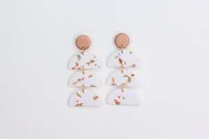 Triple Half Moon Earrings - White And Rose Gold