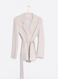 Linen blazer with tie sash belt
