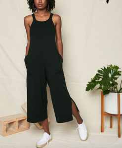 Black Organic Cotton Tie Back Jumpsuit