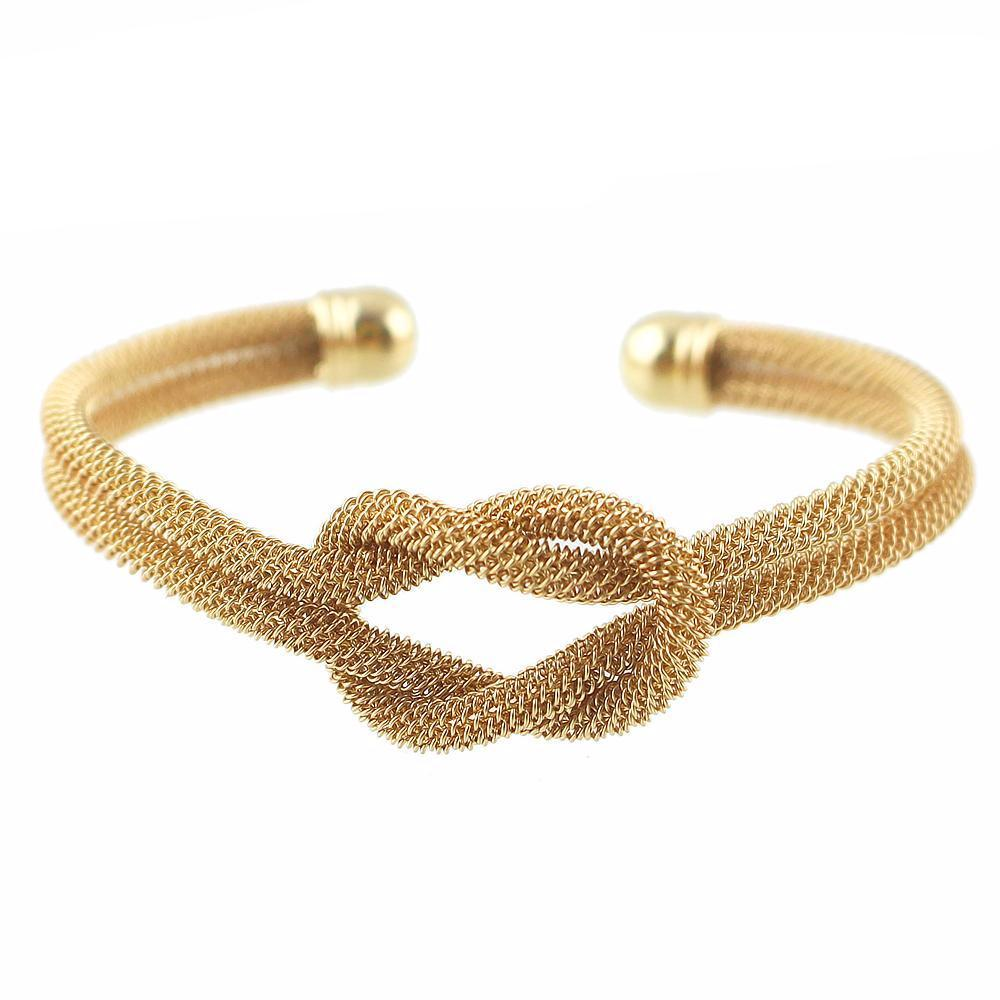 Knotted Weaved Open-Ended Cuff Bracelet