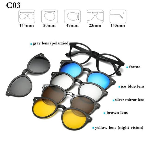 5 in 1 Magnetic Sunglasses - STYLE 2