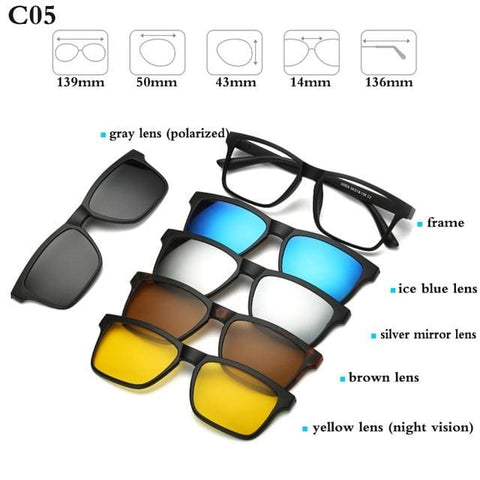 5 in 1 Magnetic Sunglasses - STYLE 3