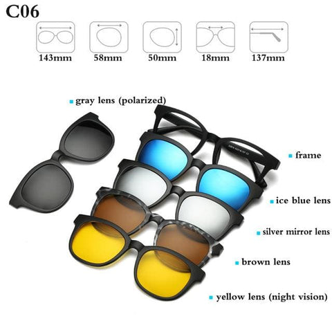 5 in 1 Magnetic Sunglasses - STYLE 4