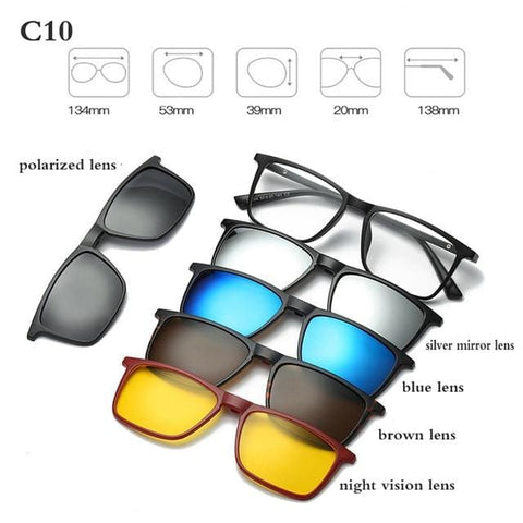 5 in 1 Magnetic Sunglasses - STYLE 6