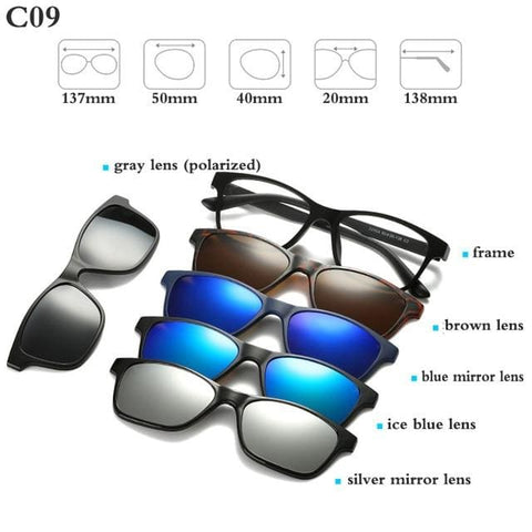 5 in 1 Magnetic Sunglasses - STYLE 5