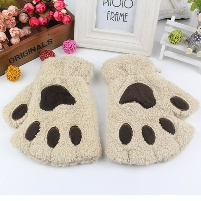 Cute Cat Paw Gloves - Beige / United States