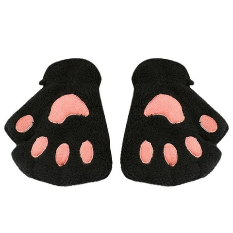 Cute Cat Paw Gloves - Black / United States