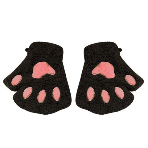 Cute Cat Paw Gloves - Brown / United States