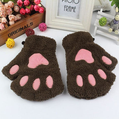 Image of Cute Cat Paw Gloves - Coffee / United States