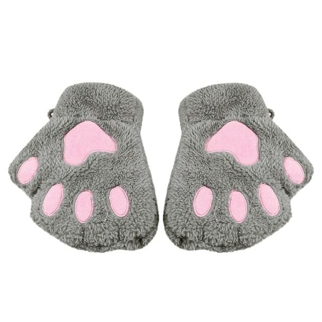 Cute Cat Paw Gloves - Gray / United States