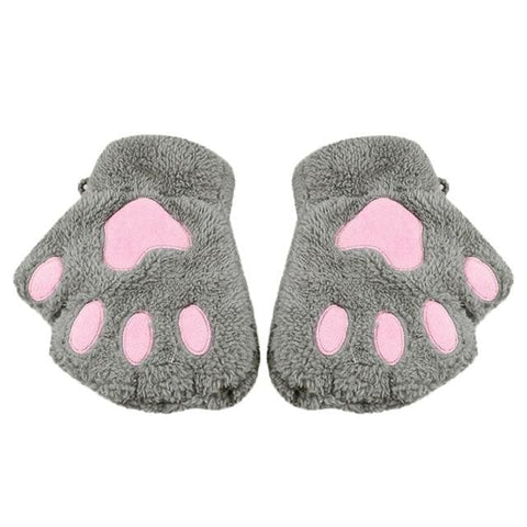 Image of Cute Cat Paw Gloves - Gray / United States