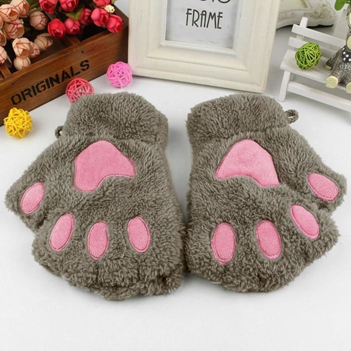 Cute Cat Paw Gloves - Khaki / United States