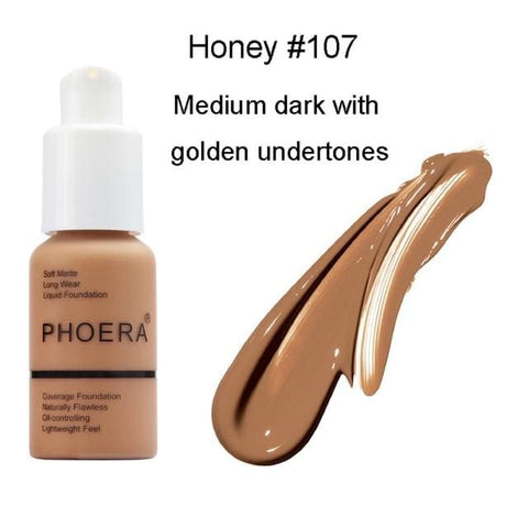 Image of Phoera Flawless Matte Liquid Foundation - #107 HONEY