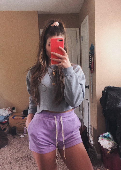 Lavender Sweat Shorts