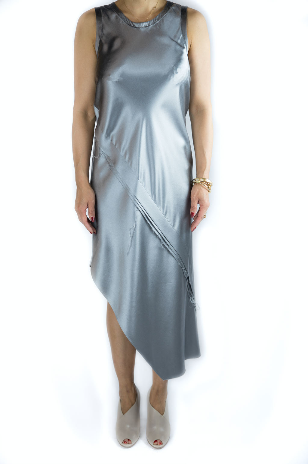 Helmut Lang - Silver Sleeveless Slip Dress