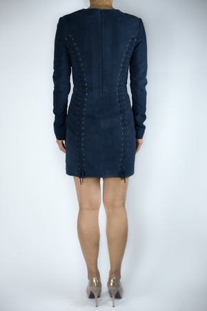 Intermix - Navy Suede Lace-Up Dress - Size S