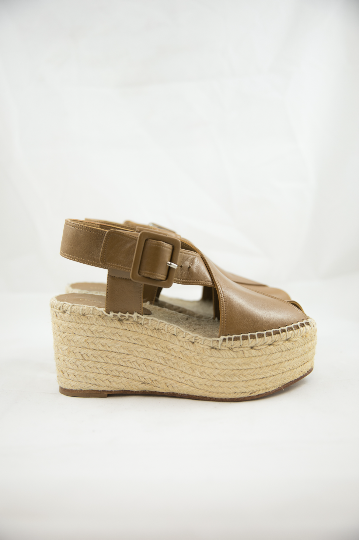 Céline Brown Leather Wedge Espadrilles
