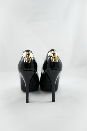 Louis Vuitton Black Patent Leather Peep Toe