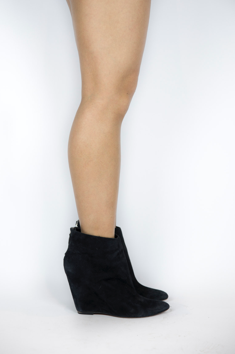 Dolce Vita - Black Suede Wedge Booties - Size 38 1/2
