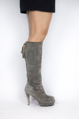 Gucci - Grey Suede Tassel Zipper Heeled Boot - Size 36