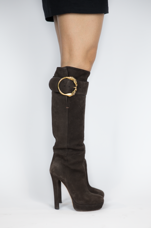 Gucci - Brown Suede Boot with Horse Buckle - Size 36