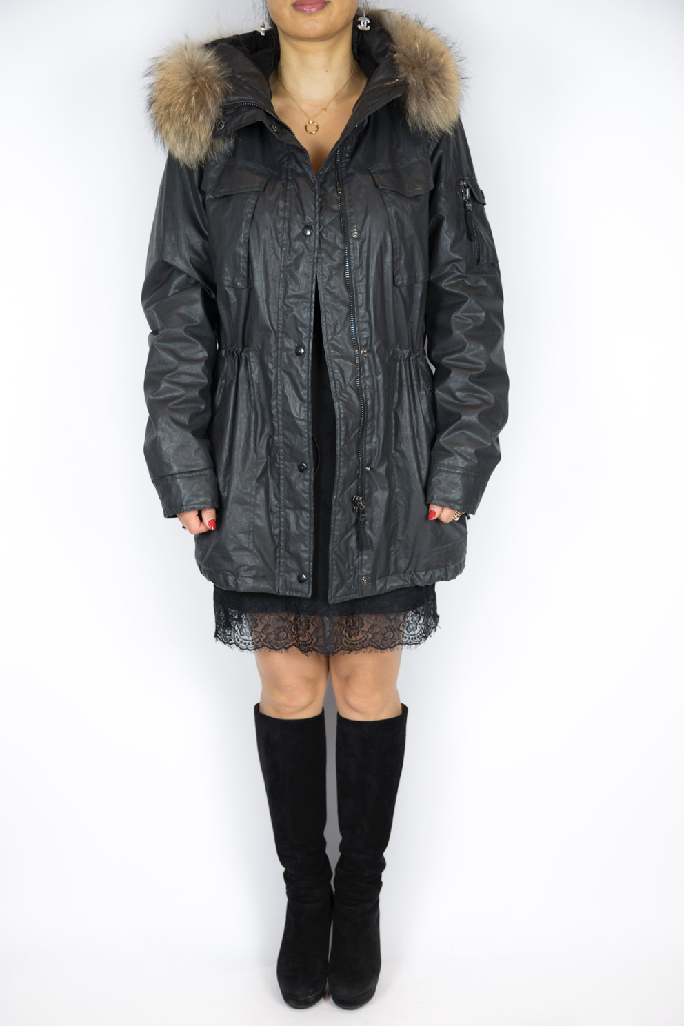 Sam - Black Coated Cotton Parka - Size M