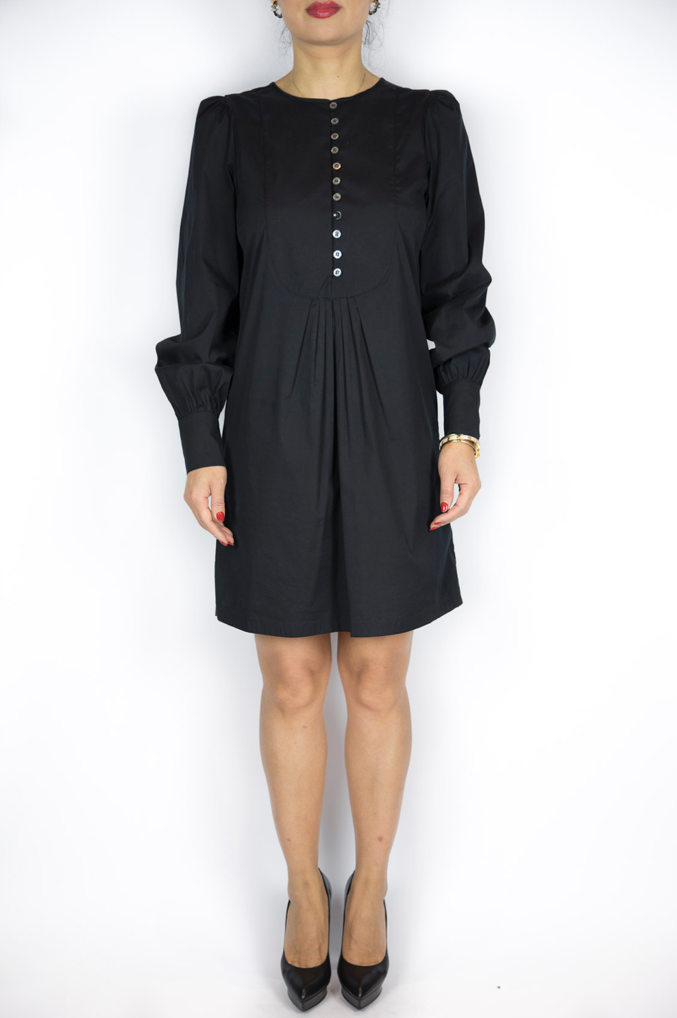 Aquascutum - Black Dress w/ Buttons - Size 6