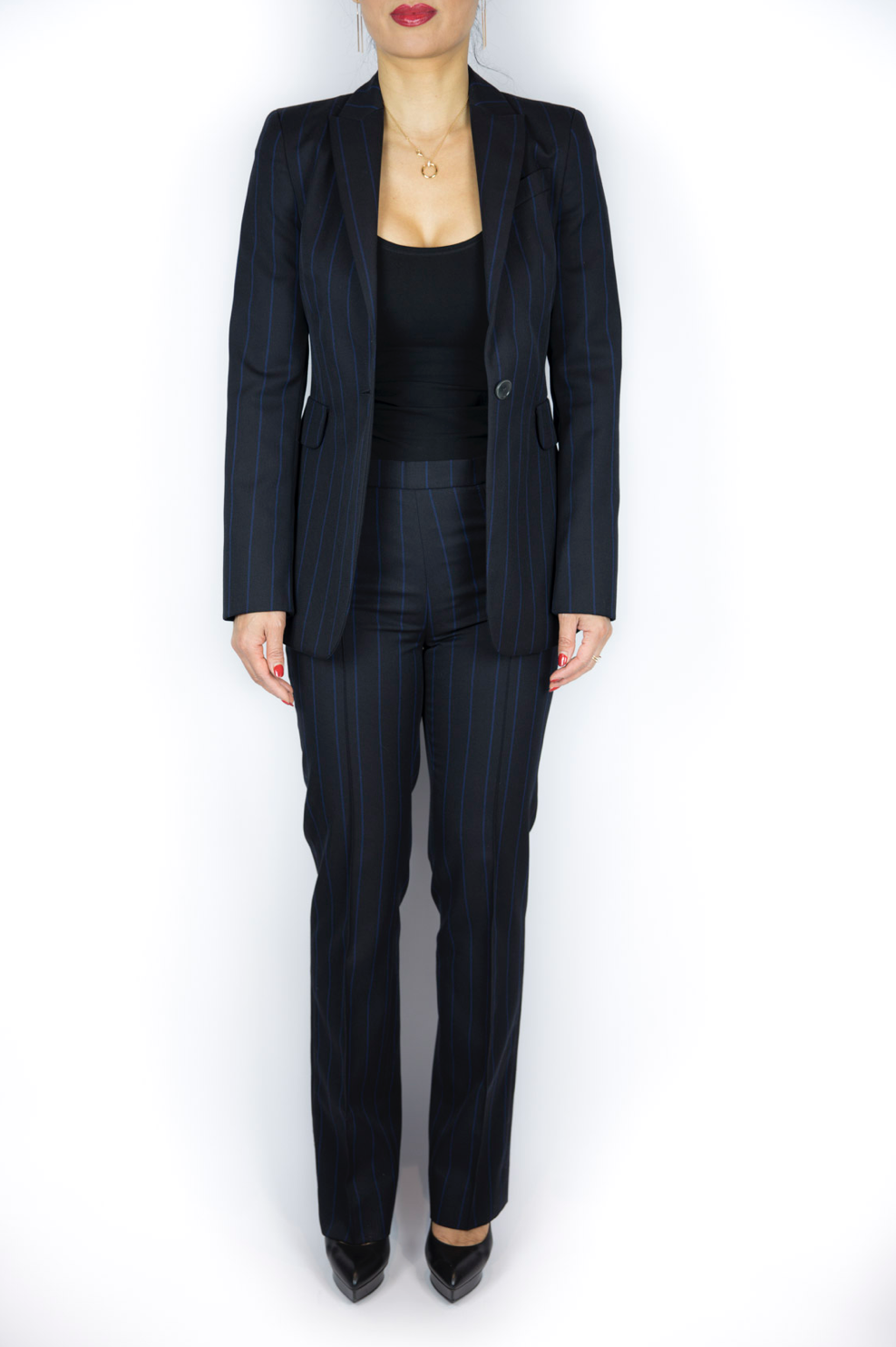Akris - Black Stripe Suit - Size S