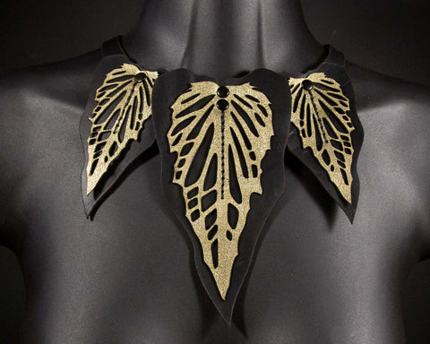 Black Gold Caladium Necklace