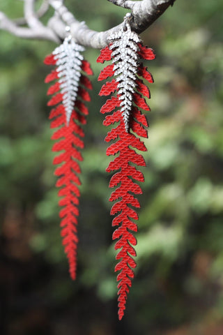 Long Leather Ferns - Silver on Red