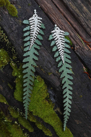 Long Leather Ferns - Silver on Green