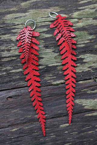 Long Leather Ferns - Red on Red