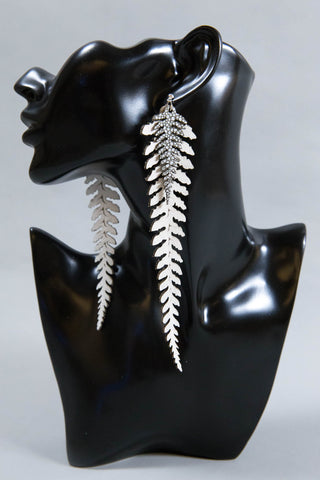Long Leather Ferns - Silver on White