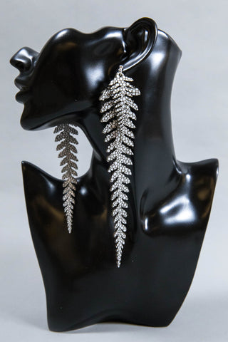 Long Leather Ferns - Silver on Silver