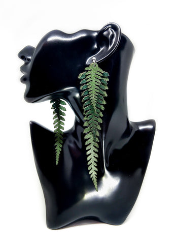 Long Leather Ferns - Green on Green