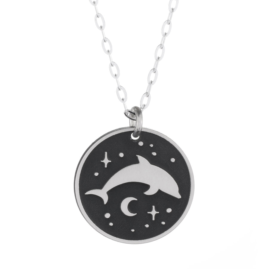 Dolphin Night Round Necklace