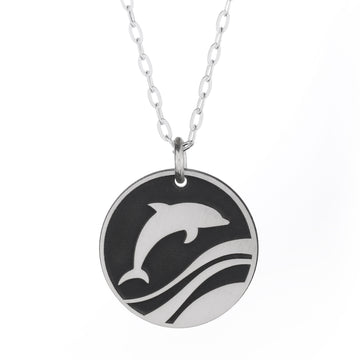 Dancing Dolphin Round Necklace